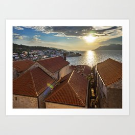 Sunset Over Korcula, Croatia Art Print