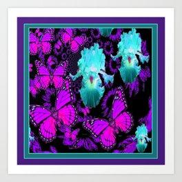 Purple Butterflies & Teal-aqua Iris Art Print
