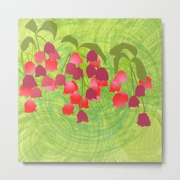 pink bellflowers on green background Metal Print
