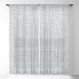 Hand Knit Light Grey Sheer Curtain