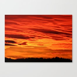 Flame Coloured Sunset Sky Canvas Print