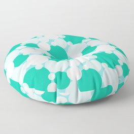 White and green circles over blue Floor Pillow