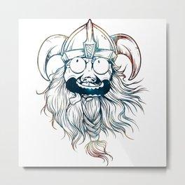 Vintage Great Beards - Crazy Viking Metal Print