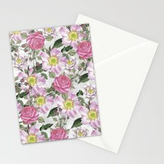 Vintage Rose Pattern Pink and White Stationery Cards