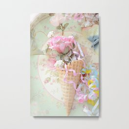 Cottage Roses Ice Cream Waffle Cone Decor Metal Print