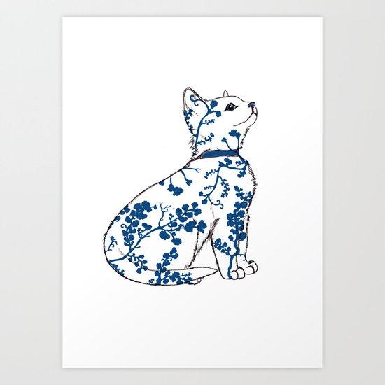 Floral Kitten Art Print