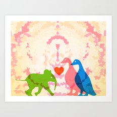 Family (Pink and Blue) Art Print