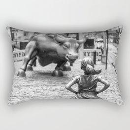 Fearless Girl & Charging Bull in the rain Rectangular Pillow