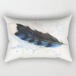 Watercolor Blue Jay Feather Rectangular Pillow