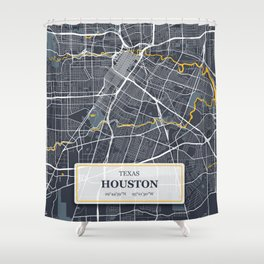 Houston Texas City Map with GPS Coordinates Shower Curtain