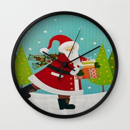 Santa and Presents Wall Clock