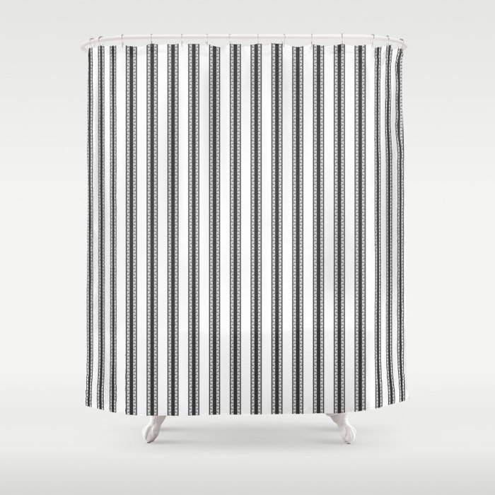 Black And White English Rose Trellis In Mattress Ticking Stripe Shower Curtain