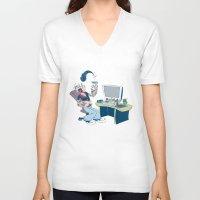 popeye V-neck T-shirts featuring Popeye by Kalablu Studio