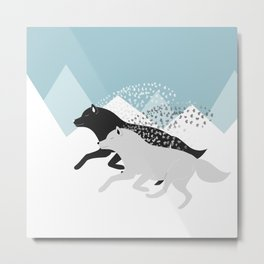 Wolves black and white Metal Print
