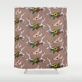 Country Deer Antlers Flowers Skull Pattern Shower Curtain