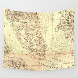 Vintage Map of Charleston South Carolina (1780) Wall Tapestry