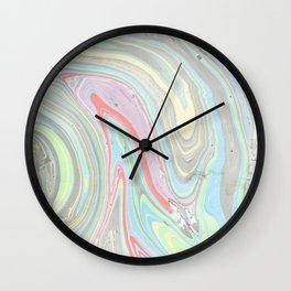 Pink coral mint green aqua watercolor abstract marble pattern Wall Clock