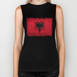 National flag of Albania with Vintage textures Biker Tank