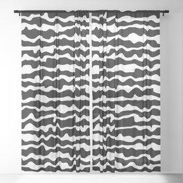 Black and White Horizontal Jitter Sheer Curtain