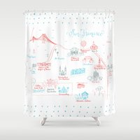 san francisco map Shower Curtains featuring San Francisco Illustrated Calligraphy Map by Megan Kelso
