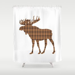 Plaid Moose: Brown Shower Curtain