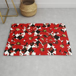 Red Poinsettias  and Black and White Harlequin Pattern Rug