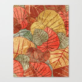 Leaves in Rosy Background 4 Canvas Print
