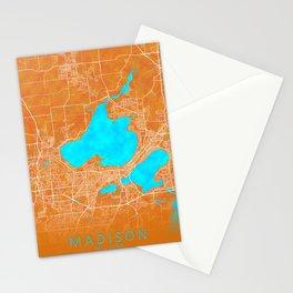 Madison, WI, USA, Gold, Blue, City, Map Stationery Cards