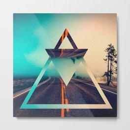 Triangle Shape Background Bright Pyramid Design Metal Print