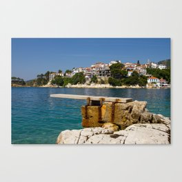 A diving board in Skiathos town (Greece) Canvas Print