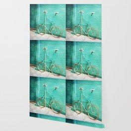 Tall Bike on Aqua Blue Green Wallpaper
