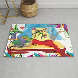 """""""Garden of Dreams"""" Paulette Lust's contemporary, original, colorful, whimsical, art. Rug"""