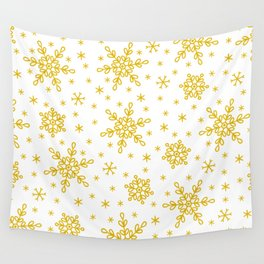 Christmas Holiday Gold Snowflakes Pattern Wall Tapestry