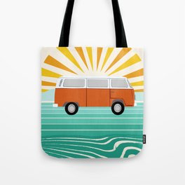Peace, man - retro 70s hippie bus surfing socal california minimal 1970's style vibes Tote Bag