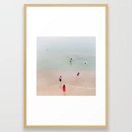 Children on the beach Framed Art Print