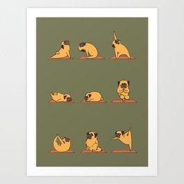 Pug Yoga In Khaki Art Print