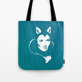 Faces - foxy lady Marlene on a teal wavey background Tote Bag