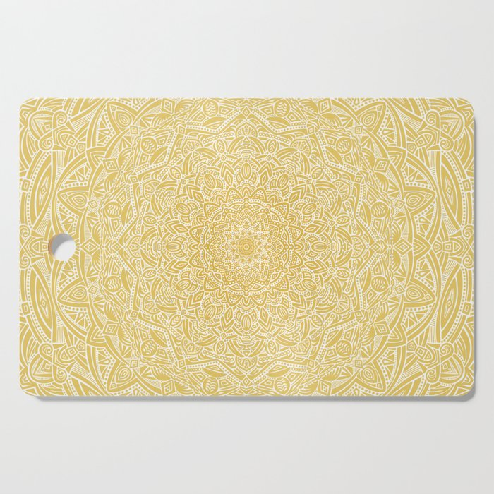 Most Detailed Mandala! Yellow Golden Color Intricate Detail Ethnic Mandalas Zentangle Maze Pattern Cutting Board