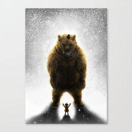 Little girl and her teddy bear Canvas Print