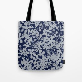 Blue and Grey Floral Pattern - Broken but Flourishing Tote Bag