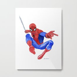 Spider-man Watercolor Painting Metal Print