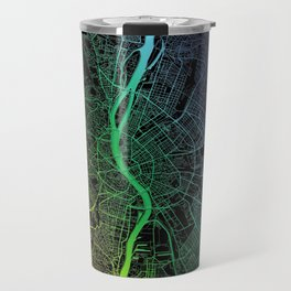 Budapest, Hungary, City, Map, Rainbow, Map, Art, Print Travel Mug