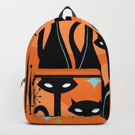 Effervescent Orange Atomic Age Black Kitschy Cat Trio Backpack