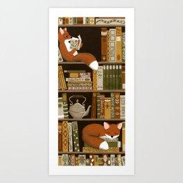 fox bookshelf Art Print