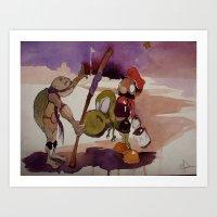 ninja turtle Art Prints featuring ninja turtle and mario by joseph Leonard