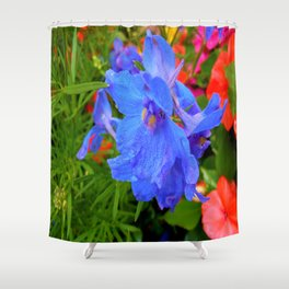 blue and pink Shower Curtain