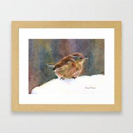 Mother Wren, from original watercolor painting by Pamela Parsons. bird, snow, mother bird Framed Art Print