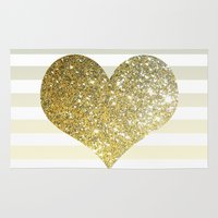 gold glitter Area & Throw Rugs featuring GLITTER GOLD HEART by colorstudio