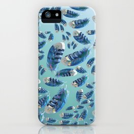 """""""Blue feathers flying in the air"""" iPhone Case"""