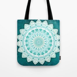White Mandala on Blue Green Distressed Background with Detail and Textured Tote Bag